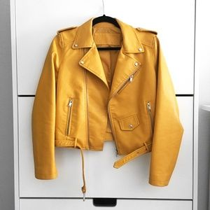 Jackets & Blazers - Faux Leather Moto Jacket Yellow/Orange/Mustard